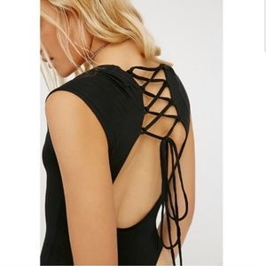 Free People|NWT Black Lace-Up Bodysuit